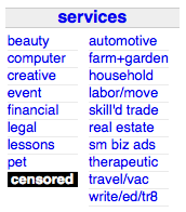 Image of the changes Craigslist made to its adult services link