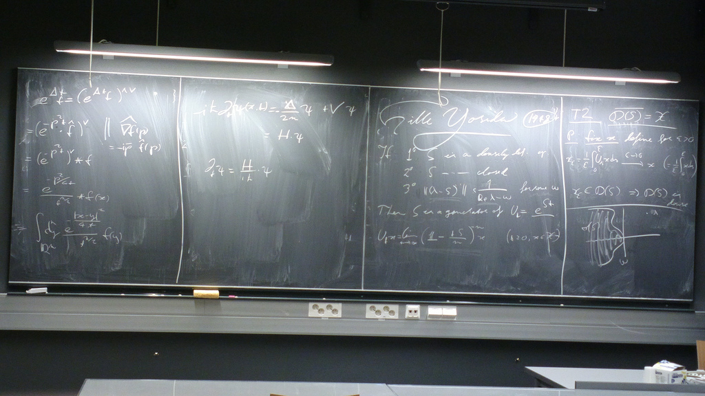 Equations on a maths department blackboard by hugovk, on Flickr
